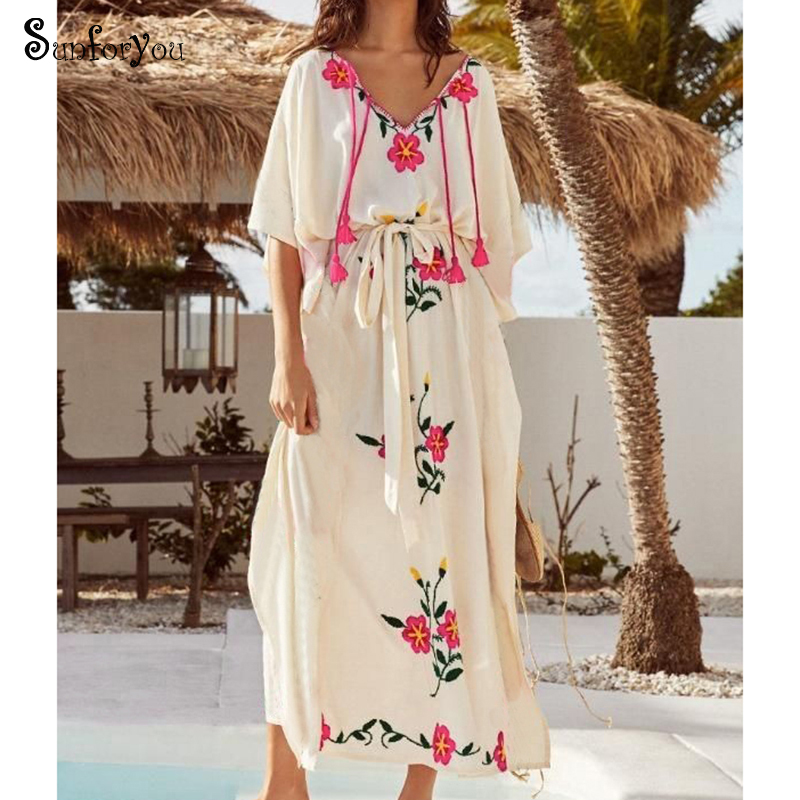 Cotton Long Swim Suit Cover Up Embroidery White Beach Dress Summer Beachwear Bathing Suit Cover Ups Sarong 2020 Robe De Plage