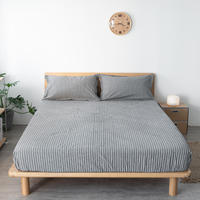 Double Queen Size Fitted Sheet Mattress Cover Washed cotton Bedding Linens Bed Sheets With Elastic Band Bedsheet