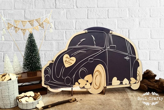 Beetle Wedding Guest Book Alternatives Bugs Drop Top Wooden Hearts Personalized Vintage Camper Anniversary Party In Signature Books From Home Garden