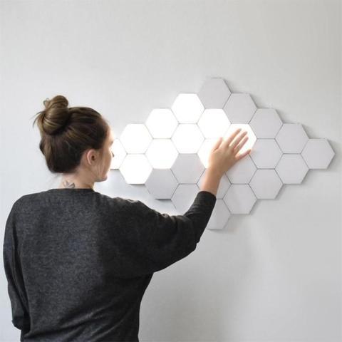 luz sensor de toque luzes da noite led hexagono luz magnetica modular toque lampada parede