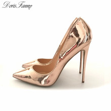 DorisFanny Pointed Toe Silver Gold high heels pumps Shoes Patent Leather Prom Wedding Shoes Large Size 34-45
