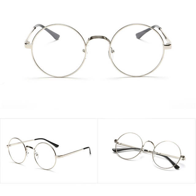 d4efca5364 Online Shop Chic Eyeglasses Retro Big Round Metal Frame Clear Lens Glasses  Nerd Spectacles