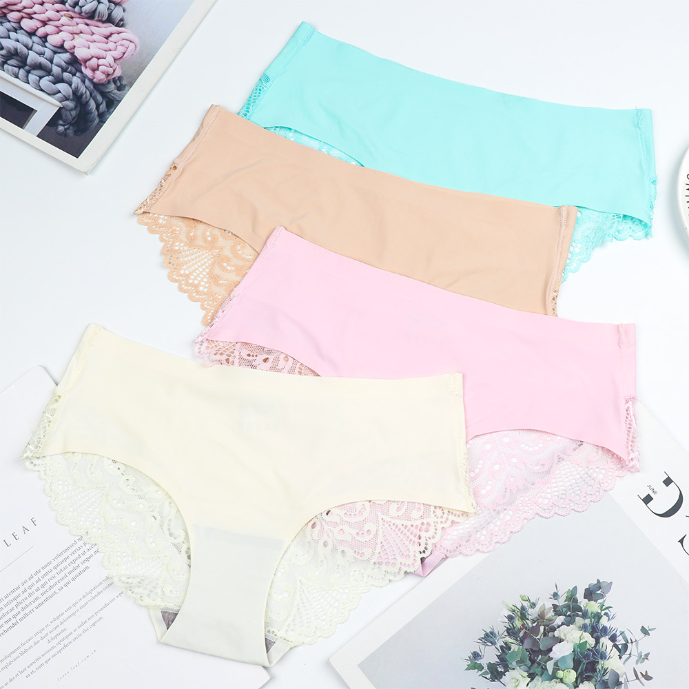 Ladies Woman Fashion Seamless Panties Fancy Lace Sexy Traceless Raw-cut Hipster Soft Solid Traceless Crotch Cotton Panties