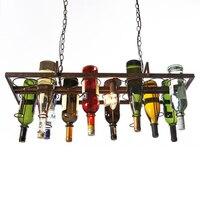 Переработаны ретро висит бутылки вина старинные железа подвесной светильник E27 подвесные светильники светильник для гостиной бар Кухня ко