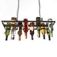 Recycelt retro Hängen Wein Flasche vintage eisen Anhänger Lampe E27 anhänger lichter leuchte für wohnzimmer bar Küche zimmer schlafzimmer