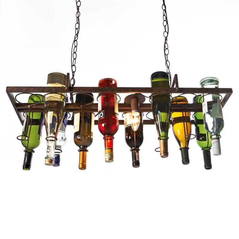 Recycled Retro Hanging Wine Bottle Vintage Iron Pendant Lamp E27 Pendant Lights Fixture For Living Room Bar Kitchen Room Bedroom