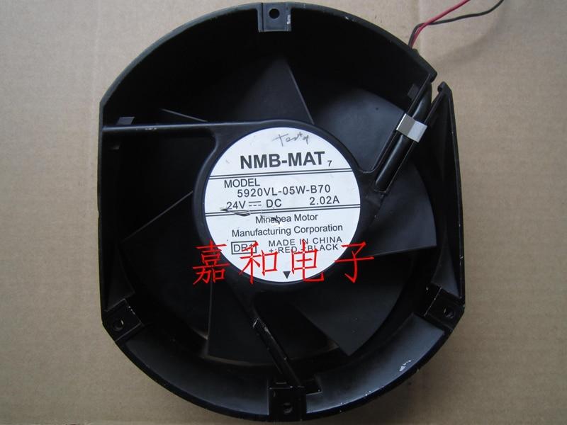 NMB-MAT 5920VL-05W-B70 DR1 Server Round Fan DC 24V 2.02A 172x150x50m 2-wire nmb mat 5915pc 12t b30 a00 dc 115v 35a 2 piece 150x172x38mm server round fan