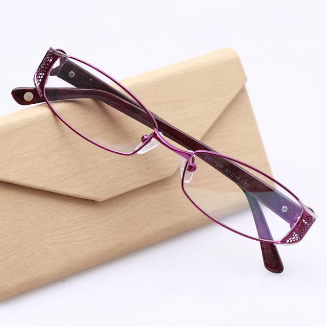 Новая Мода Очки Рамки для Женщин Сплава Полный Оправы Очки Для Чтения Очки Аксессуары óculos де гра TD801 Фиолетовый Цвет
