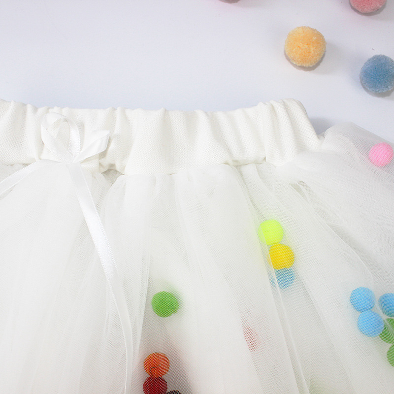 Spring summer Lace Mesh Baby Girl Tutu Skirt Colorful pompom Princess Girls Skirts 1-4Y Children Clothing Tutu ball Pettiskirt (9)