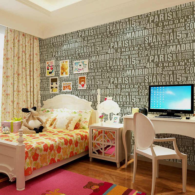 Beibehang salon wodoodporna angielski listy dzieci tapeta do sypialni zwykły proste nie tapeta z tkaniny