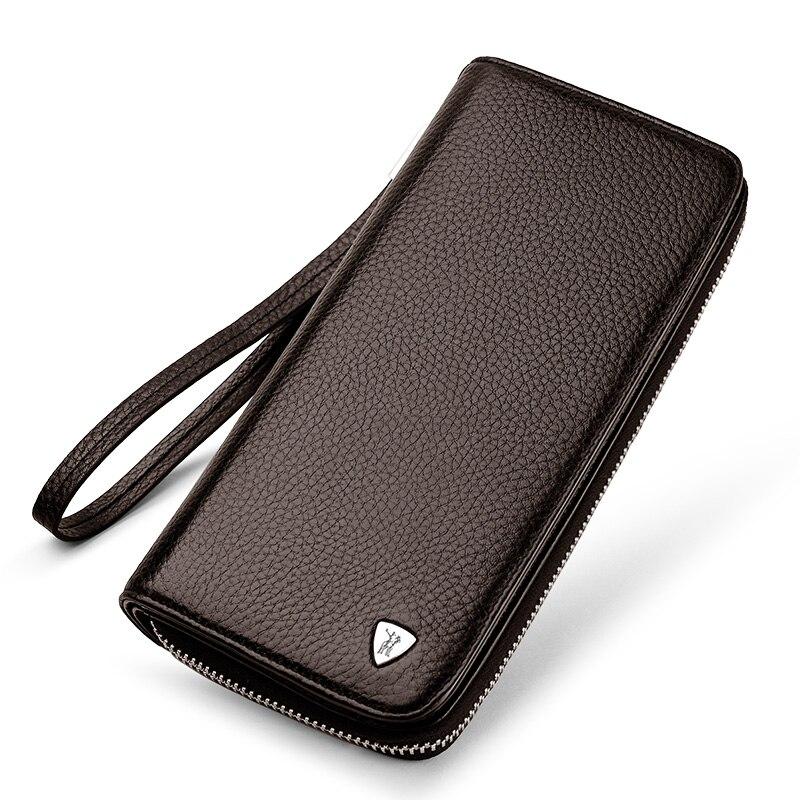 Мужские кошельки, бумажник, Длинный кошелек, держатель для карт, высокое качество, натуральная кожа, мужской кошелек