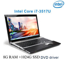 "P8-13 black 8G RAM 1024G SSD i7 3517u 15.6 gaming laptop DVD driver HD screen business notebook computer"""