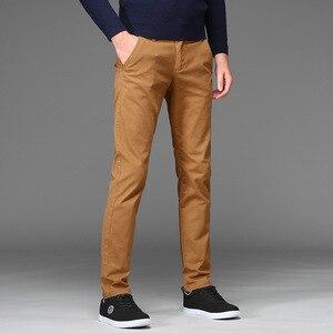 Image 2 - パンツ男性ビジネス綿のズボンストレッチ男弾性スリムフィットカジュアルビッグプラスサイズ 42 44 46 黒カーキ赤、青パンツ