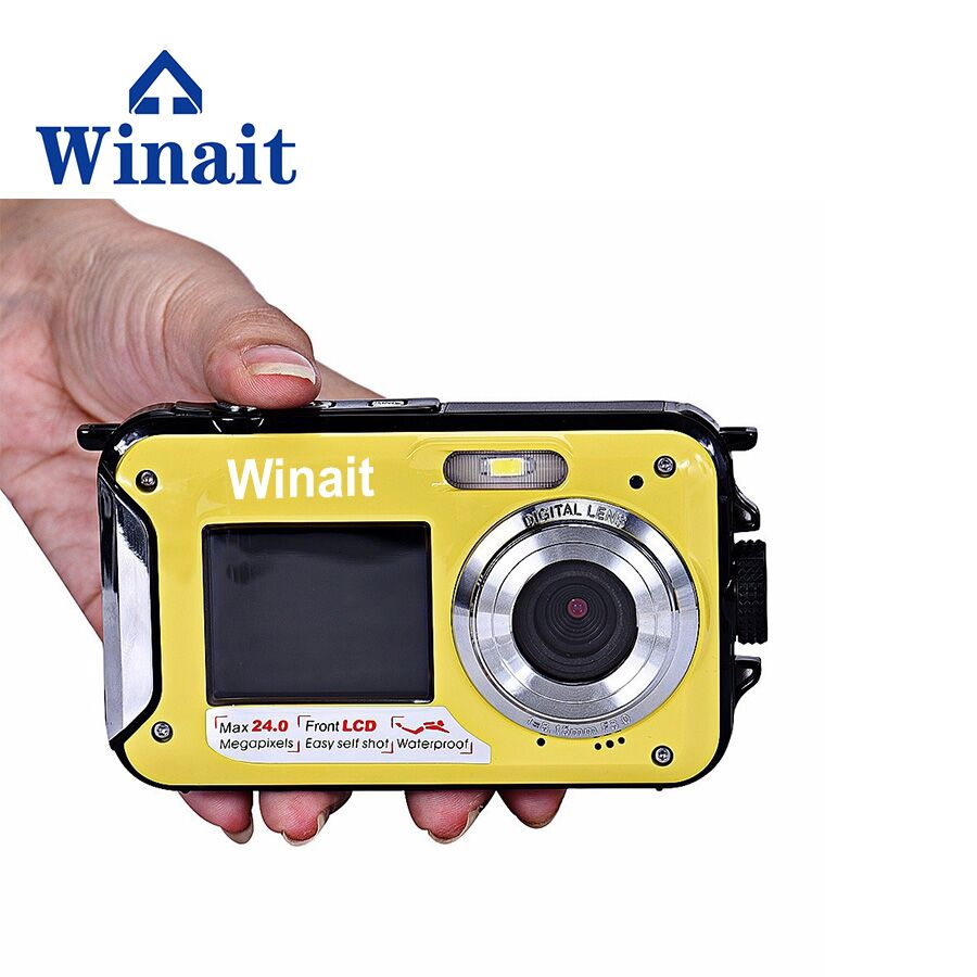 Freeshipping Winait 16X Digital Zoom 1080P Max 24MP Digital Camera DC-16 Photocamera Mini Camera With Double Screen