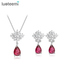 LUOTEEMI 4Colour Luxury AAA Cubic Zirconia Paved Platinum Plated Women Earrings Necklace Set For Bridal Wedding Party Jewelry