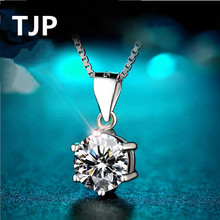 TJP Cute Round Clear Crystal Pendants Necklace Jewelry For Girl Engagement 925 Silver Box Chain CZ Shining Accessories