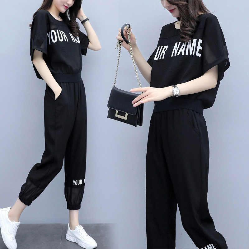 Rlyaeiz New 2 Piece Set Women Tracksuit Set 2019 Summer Fashion Casual Letter T shirts + Ankle-Length Pants Female Sweat Suit
