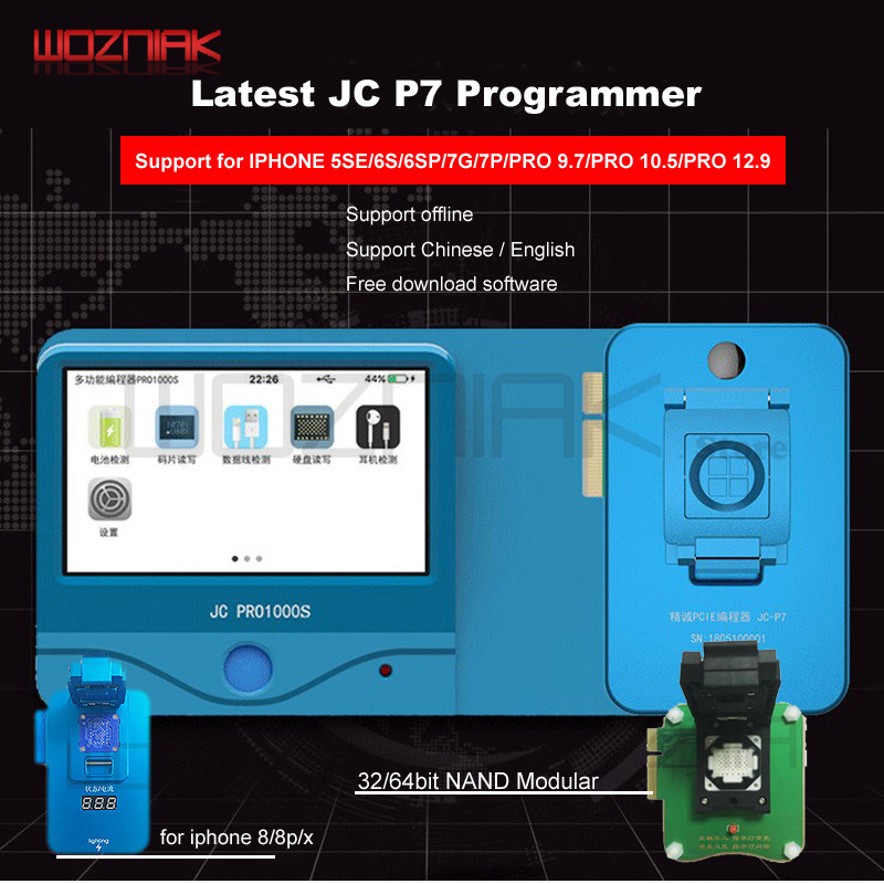 цена JC Pro1000S Multi-Function HDD NAND Programmer JC P7 Read Write Error Remove For iPhone 5SE 6S 6SP 7 7P 8 8P X iPad Pro