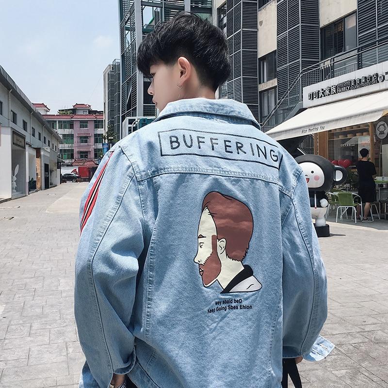 2019 automne Cowboy vêtements lâche manteau veste Original vieux temps de loisirs homme marée coupe-vent Style chinois noir bleu