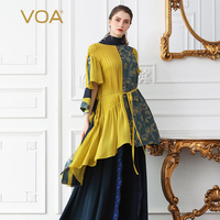 VOA Silk T Shirt Women Top Plus Size Loose Tee Harajuku Summer Asymmetric Hit Color Splice Sashes Casual haut femme B522