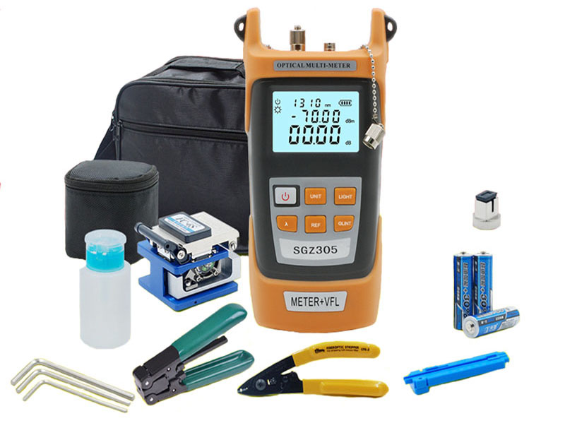 Fiber Optic FTTH Tool Kit with Fiber Cleaver and Optical Power Meter 5km Visual Fault Locator Wire stripperFiber Optic FTTH Tool Kit with Fiber Cleaver and Optical Power Meter 5km Visual Fault Locator Wire stripper