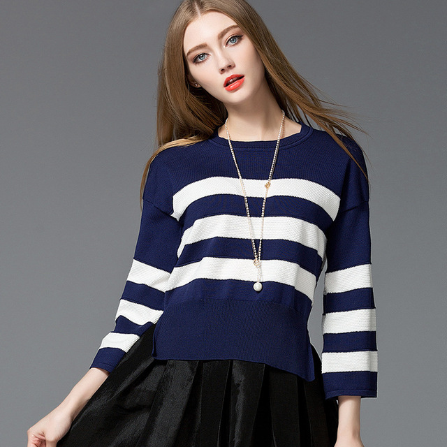 56a95e5a13 New fashion quality autumn flare sleeve women sweater loose big size  striped modal cotton knitted women sweater hot sale