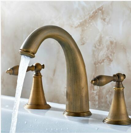 top high quality brass material widespread basin faucet double handle gold plating sink faucet high top quality c shape brass metal