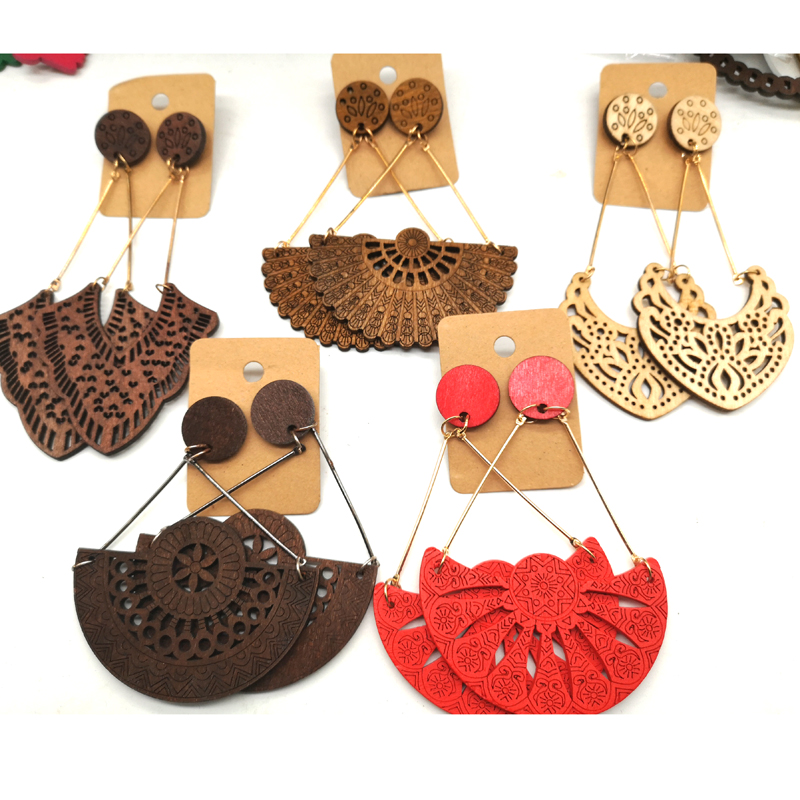 hotsale Drop Wooden Earrings can mixed 5 designs