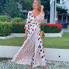 Womend Dress Floral-Print Elegant One-Sholder New-Arrive Patchwork Female High-Quality