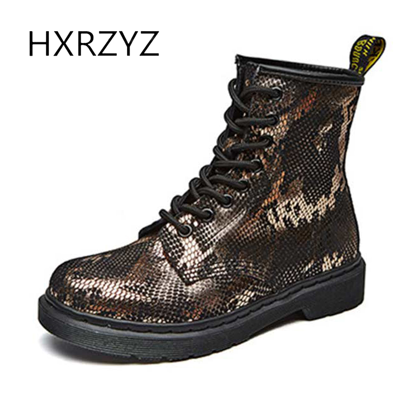 HXRZYZ spring/autumn martin boots women genuine leather ankle boots female new fashion lace up grid stripe women's winter shoes цены онлайн