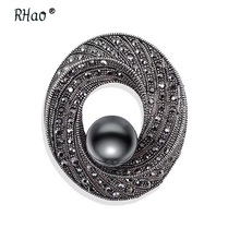 Jewelry Vintage scarf broches pin imitation gun black pearl rhinestones Flower brooch Elegant Women's Clothing Accessories