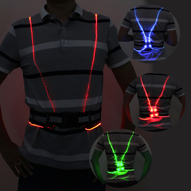 Universal Unisex angel wing Visibility Security LED fiber optic night  running riding Cycling vest color luminous reflective vest 564f7e2b0168