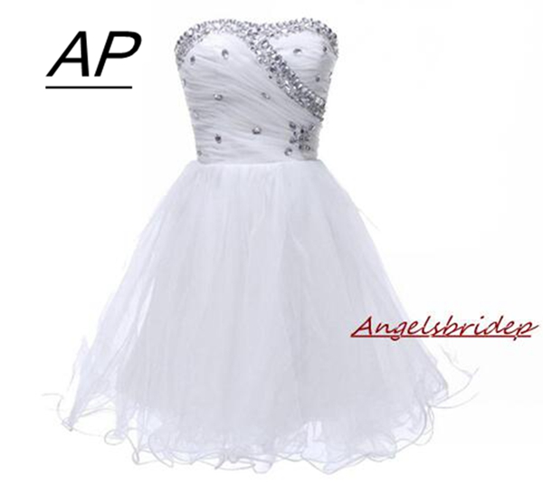 Angelsbridep Sweetheart Homecoming Dress 2019 Graduation Dresses Crystals Above-Knee Fashion Tulle Party Dress Cocktail Dresses