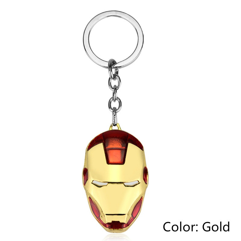 Comics Super Hero Avengers Iron Man Mask Metal KeyRings Key Chains Purse Bag Buckle Key Keychains Holder Accessories