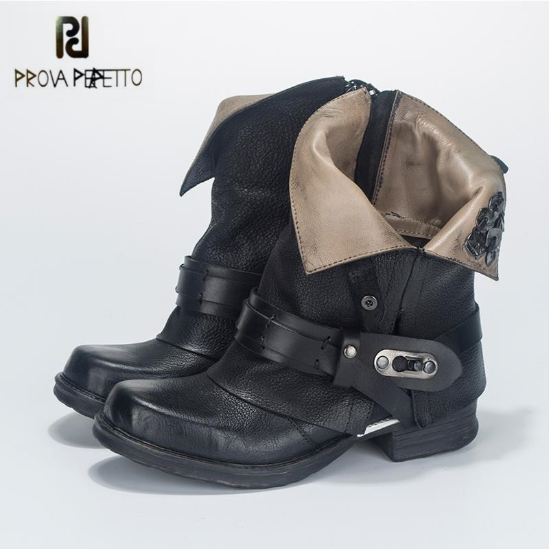Prova Perfetto Black Ankle Boots for Women Metal Decor Flat Autumn Botas Mujer Genuine Leather Platform Rubber Martin Boots mabaiwan retro brown ankle boots for women metal decor autumn winter botas mujer genuine leather platform rubber shoes woman