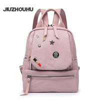2017 New Korean Fashion PU Leather Shoulder Bag Women Soft Cute  Badge Backpack Ladies Small Bag Casual Bag Leisure Knapsack
