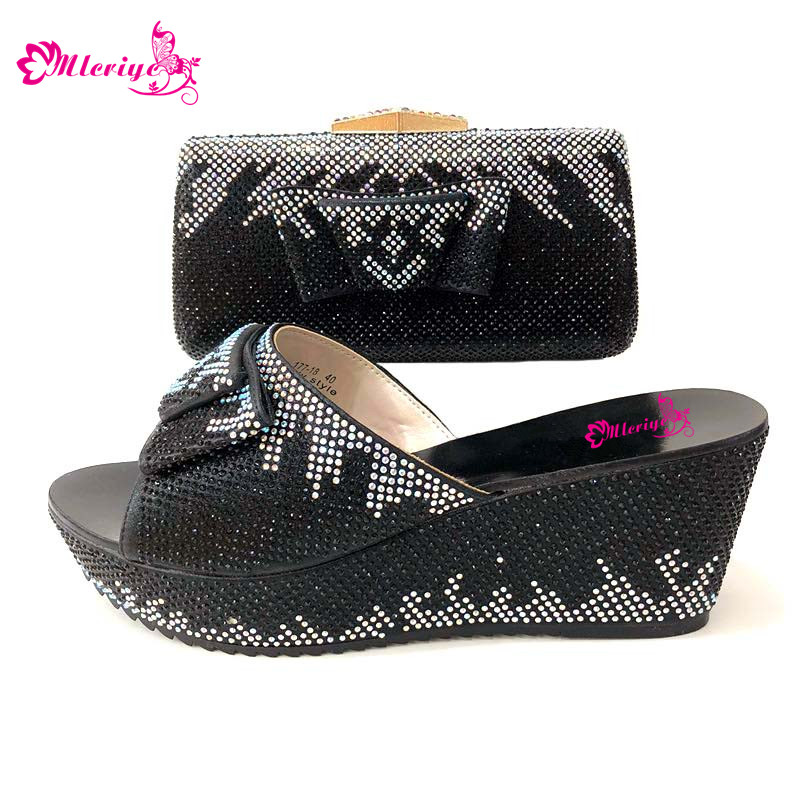 PU Leather Fashion Ladies Shoes and Bag Set Matching Italian Shoes and Bag for Wedding Nigerian Shoes Black Color cd158 1 free shipping hot sale fashion design shoes and matching bag with glitter item in black