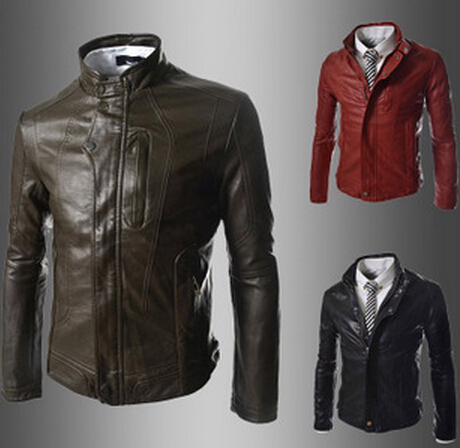 2015 new winter button collar Korean mens leather jacket minimalist style