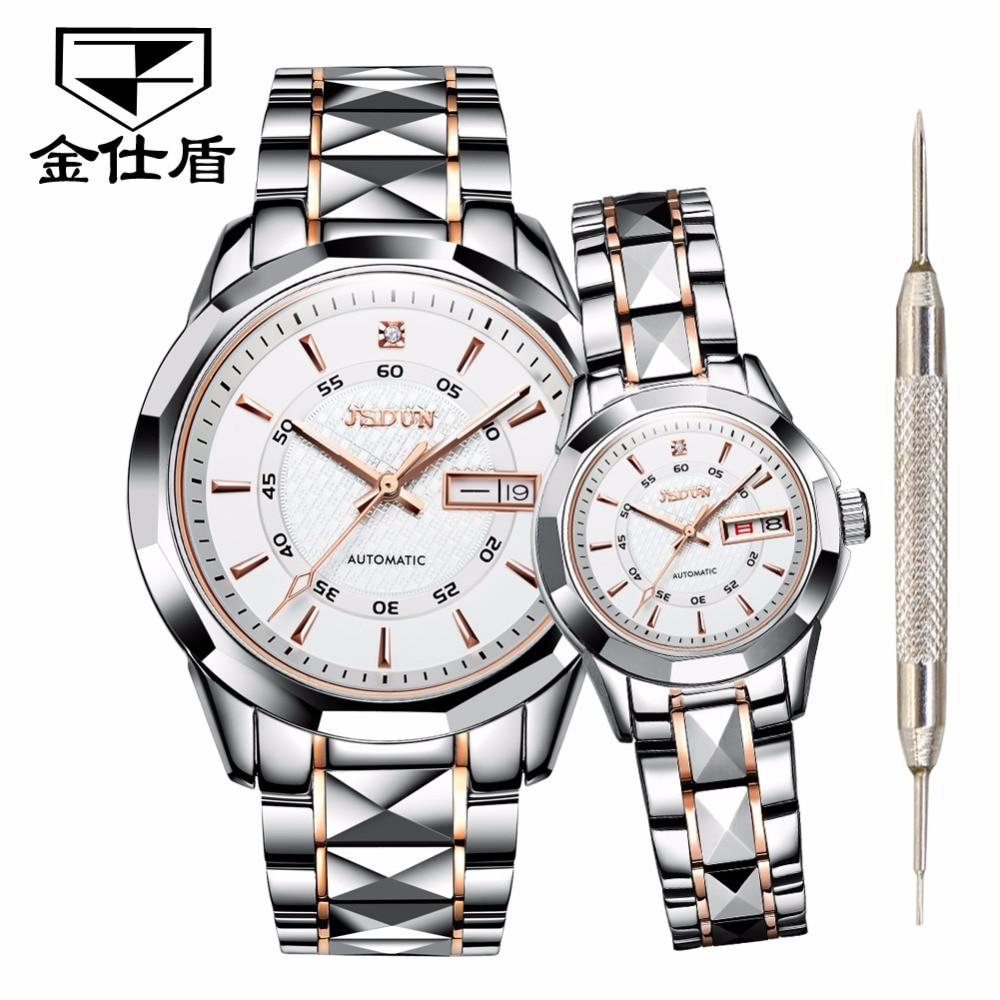 Couple montres pour amoureux machines automatiques hommes montres femmes JSDUN marque de luxe étanche tungstène acier inoxydable relogio