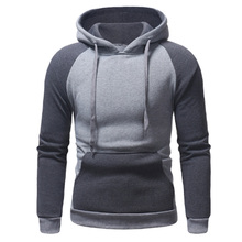 все цены на Plus Size Men Hoodies Jacket Winter Spring Drawstring splice Hooded Sweatshirt Top Male Long Sleeve Pocket Pullover Hoodie Coat онлайн