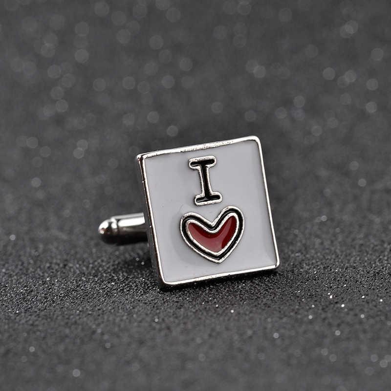 I love you свадебные запонки для мужчин s I heart You запонки мужские запонки для рубашки металлические рекламные квадратные эмалированные манжеты