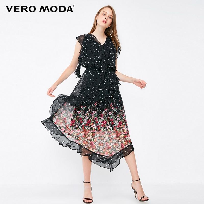 Vero moda 2019 Novos das Mulheres Ruffled Lace-up Impressão Emendados Vestido de Praia   31837B513