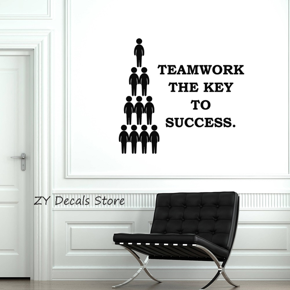 Teamwork Quote Vinyl Wall Decal Team Work Office Space ...
