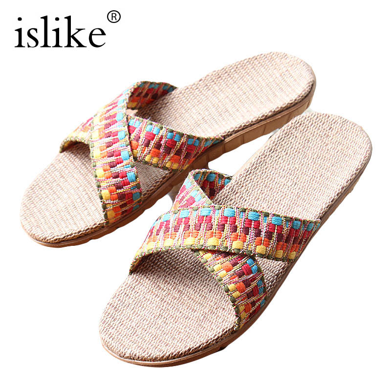 Hot New Summer Islike Women Linen Slippers EVA Flat Ribbon Non-Slip Indoor Flax Slides Home Sandals Lady straw Ethnic Beach Shoe coolsa women s summer flat non slip linen slippers indoor breathable flip flops women s brand stripe flax slippers women slides