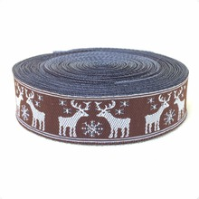 2014 NEW  wholesale 3/4(20mmx10y/lots) Polyester Woven Jacquard Ribbon Coffee reindeer kt02014071601