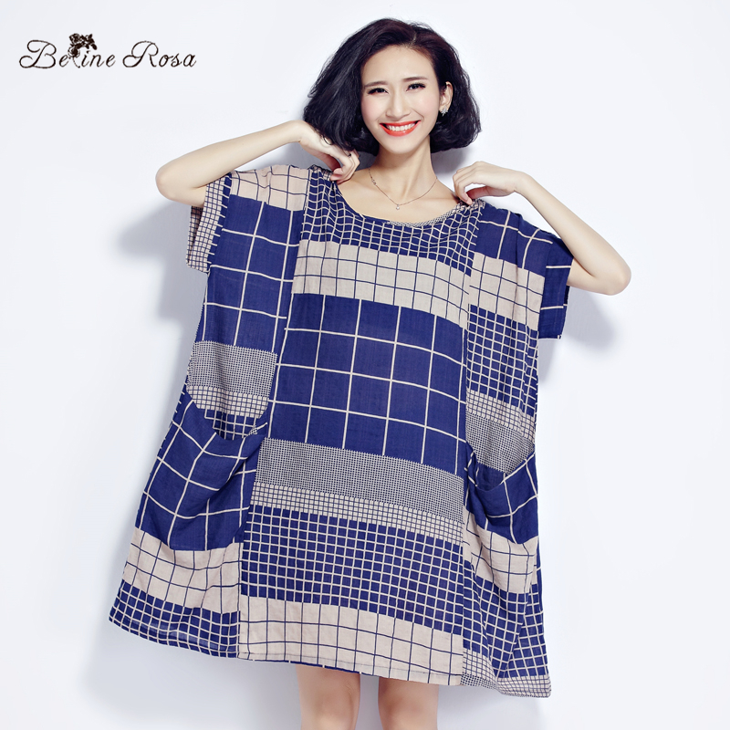 Buy Cheap BelineRosa 2017 Large Size Dress Classical Cotton and Linen Plaid Summer Dress Clothes for Pregnant Women Fit 50~90KG TYW0209