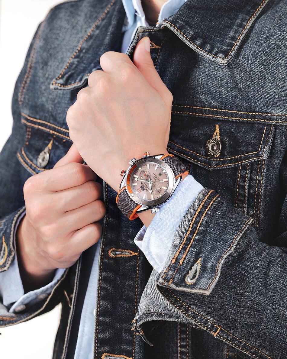 HTB18NqgdBGE3KVjSZFhq6AkaFXaV Men Automatic Self Wind Mechanical Canvas Rubber James Bond 007 Style Orange Blue Multifunction Date Month Sport Watch