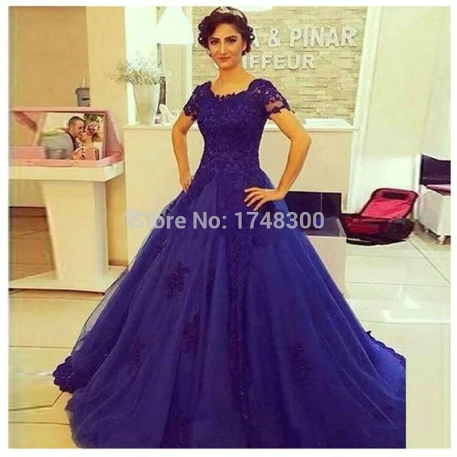 2016 New Arrival Royal Blue Ball Gown Lace Evening Dress Elegant ...