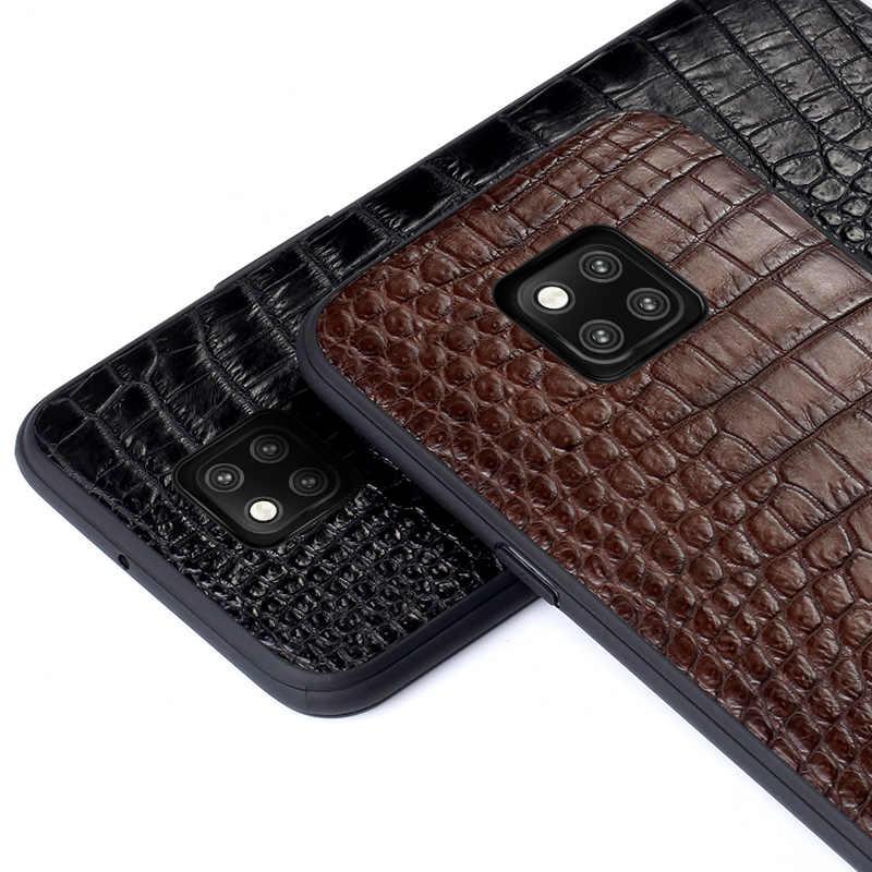 Couro de crocodilo genuíno caso do telefone para huawei companheiro 20 pro 30 p20 p30 pro lite capa para honra v20 10 10i 20 pro 8x 9x luxo