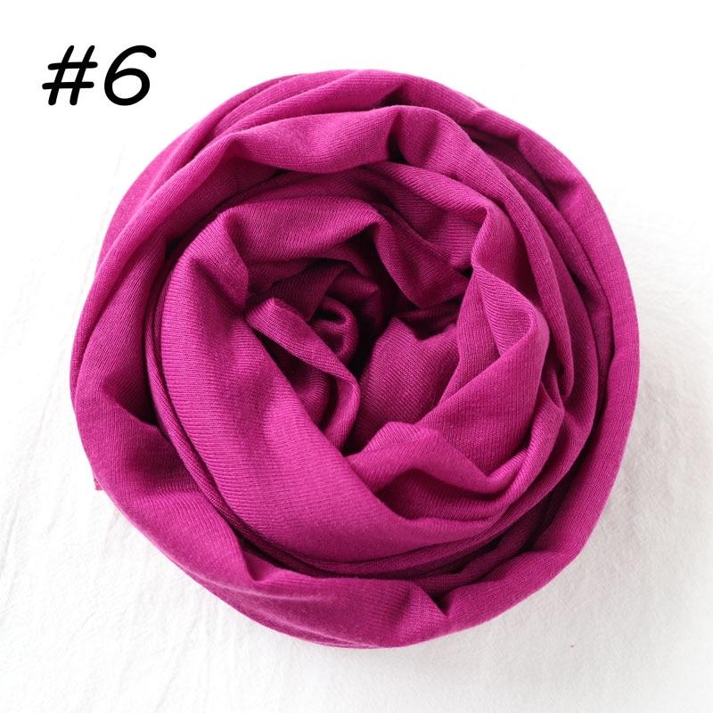 Один кусок Хиджаб Женский вискозный Джерси-шарф Мусульманский Исламский сплошной простой Джерси хиджабы Макси шарфы мягкие шали 70x160 см - Цвет: 6 light purple